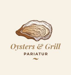Oysters and grill abstract sign symbol vector