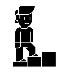 personal growth - man stairs up icon vector image