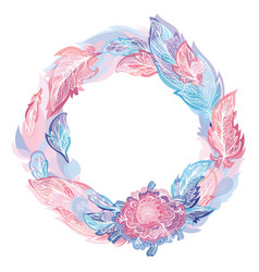 Pink and blue feather wreath vector