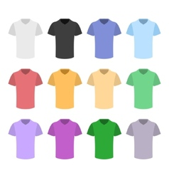 Plain T-shirt Color Template Set in Flat Design vector