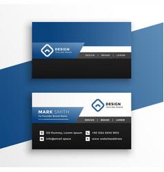 Professional blue geometric business card design vector