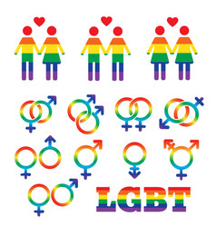 rainbow lgbt rights icons and symbols homosexual vector image