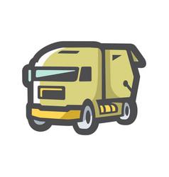 Recycle garbage truck icon cartoon vector