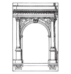Roman arch arch of titus vintage engraving vector