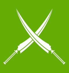 Samurai swords icon green vector