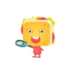 Sandwich Character Frying Eggs vector image