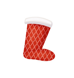 Santa sock with pattern of cross over points vector
