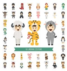 Set 40 animal costume characters vector