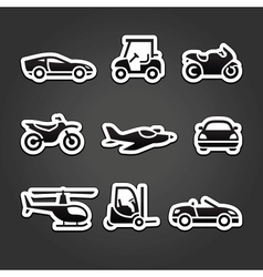 Set stickers transport icons vector image