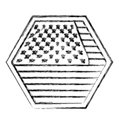 shield in hexagon shape with flag united states of vector image