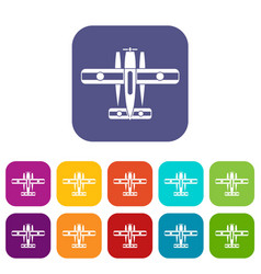 ski equipped airplane icons set vector image