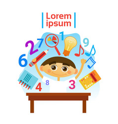 Small boy learning child preschool education vector