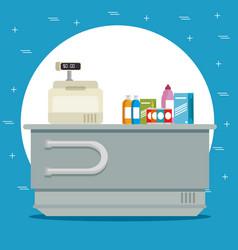 Supermaket store counter desk vector