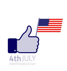 Thumb up hold american flag icon vector
