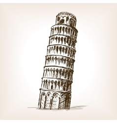 Tower of Pisa hand drawn sketch style vector