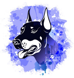 Watercolor image of the head of a dog of the breed vector