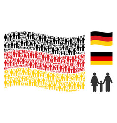 Waving germany flag collage of family child items vector