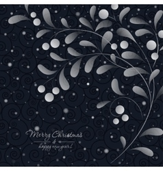 White sprig with berries on dark background vector image