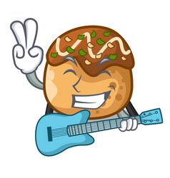With guitar takoyaki balls diisolasi on a mascot vector