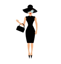 Woman in black elegant hat bag and sunglasses vector image