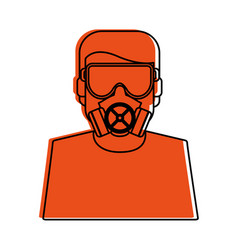 worker avatar with industrial safety icon image vector image