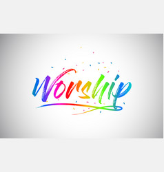 Worship creative word text with handwritten vector