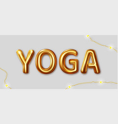 yoga inscription gold letters on a gray vector image
