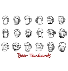 Beer tankards set vector image
