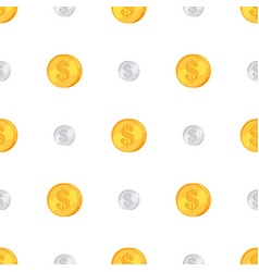 golden and silver coins with dollar sign isolated vector image