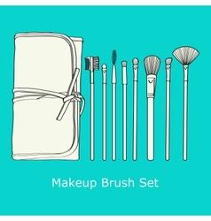 Makeup brush set vector