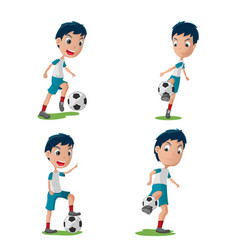 soccer player character pose set vector image