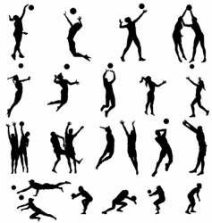 volley silhouettes vector image vector image