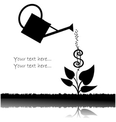 water can watering plant with dollar vector image vector image
