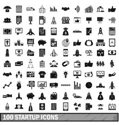100 startup icons set simple style vector image