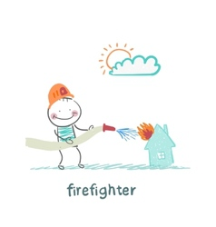 Firefighter extinguishes a house vector