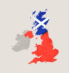 Map of United Kingdom with Crack vector image
