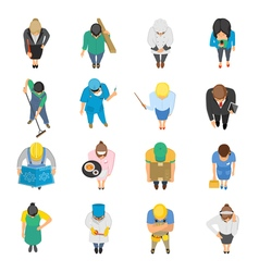 Professions top view colored icons set vector