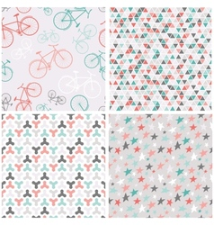 4 seamless patterns in pink turquoise and grey vector image vector image