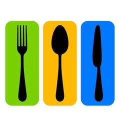 colorful cutlery icon vector image vector image