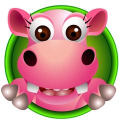 cute hippo head cartoon vector image