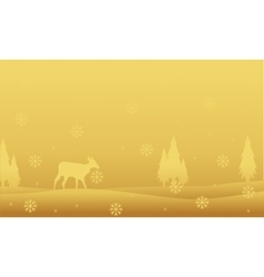 Deer and spruce landscape winter Christmas vector image
