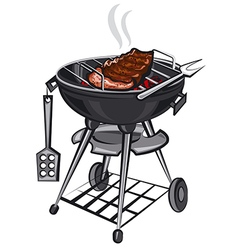 grill with meat vector image vector image
