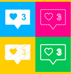 like and comment sign four styles of icon on four vector image vector image