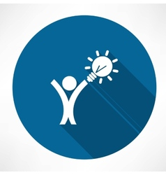 man with the idea in hand icon vector image