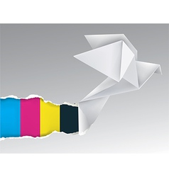 Origami bird ripping paper with print colors vector