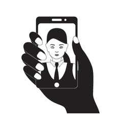 Selfie photo on mobile device Black silhouette vector image