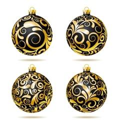 Set of Black and gold Christmas balls vector image vector image
