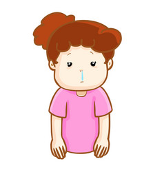 Ill woman runny nose cartoon vector