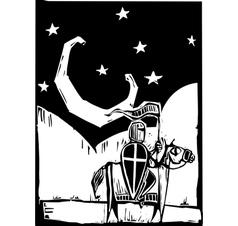 Knight beneath crescent moon vector image vector image
