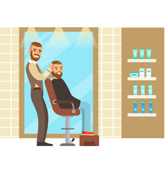 male hairdresser serving client colorful cartoon vector image